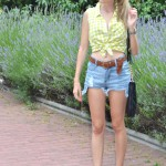 High waisted shorts and cropped shirt