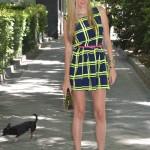 Fluor dress, mirror sunnies and plastic box clutch