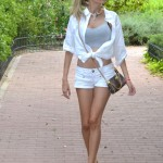 Total white outfit with lovely necklace