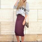 Midi skirt and sweatshirt