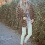 Sneakers, jeans and fur coat