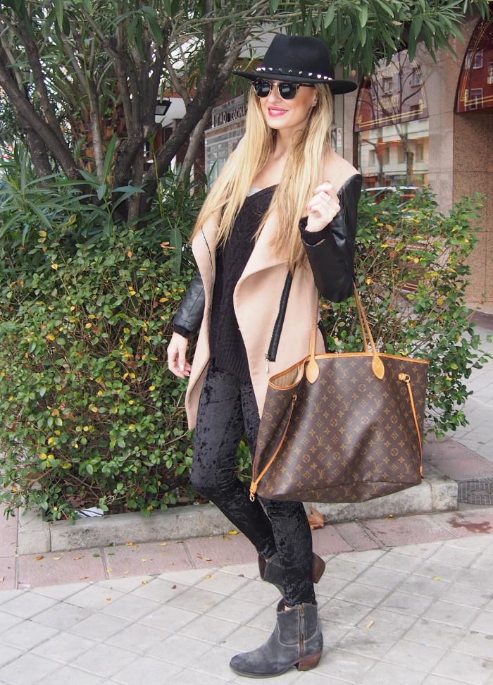 camel coat velvet leggings neverfull louis vuitton wool weater hat sunnies