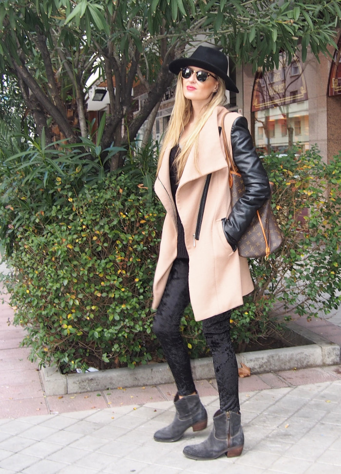 camel coat velvet leggings neverfull louis vuitton wool sweater hat sunnies