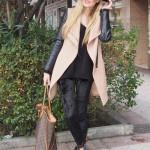Velvet leggings and camel coat