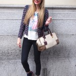 Blazer, New Balance sneakers and Loewe bag