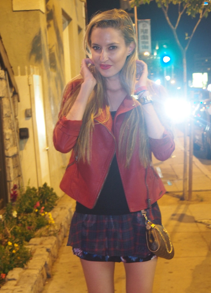 Sunset_Boulevard_Los_Angeles_Perfecto_Jacket_Guess_Tartan_Short_Louis_Vuitton_Bag_Lara_Martin_Gilarranz_Bymyheels
