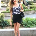 Drapped skirt, crop top & Nike Free Flyknit