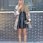 Leather dress and animal print trench
