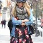 Vestido de flores y denim, mix and match
