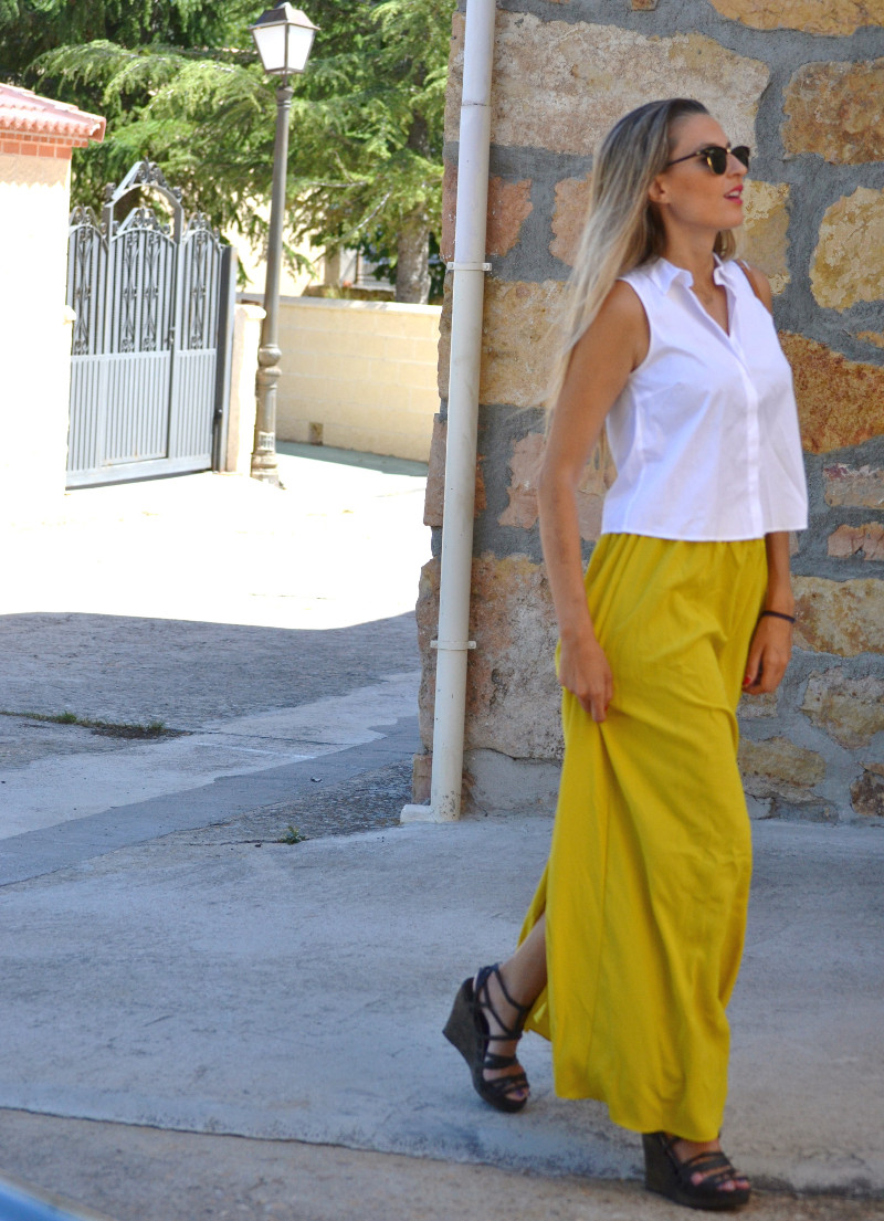 Mustard_Long_Skirt_Sandals_Wood_Min_Speedy_Louis_Vuitton_Clubmaster_Ray_Ban_Lara_Martin_Gilarranz_Bymyheels_ (6)