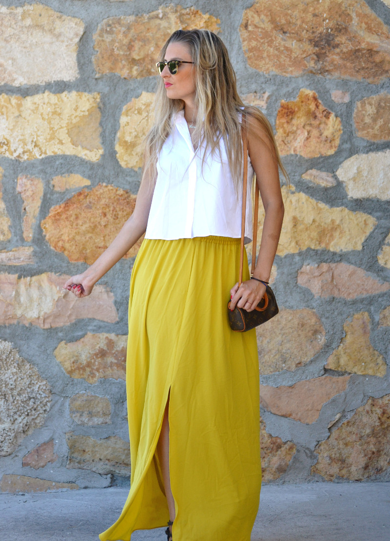 Mustard_Long_Skirt_Sandals_Wood_Min_Speedy_Louis_Vuitton_Clubmaster_Ray_Ban_Lara_Martin_Gilarranz_Bymyheels_ (9)