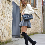 Over the knee and knit skirt