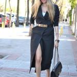 Front slit dress in black