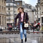 Checked coat in Paris